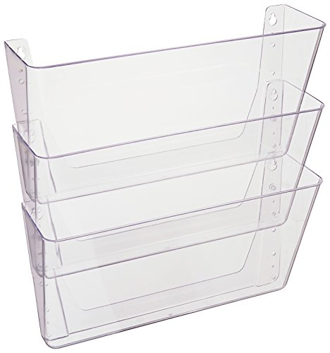 Deflecto DocuPocket Stackable Wall, Letter Size, 3 Pocket, Clear (73601RT)