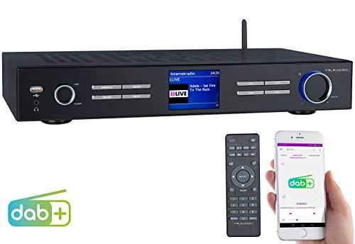 VR-Radio Internet Tuner HiFi: WLAN-HiFi-Tuner mit Internetradio, DAB+, UKW, Streaming, MP3, schwarz (Internet Tuner für HiFi-Anlage)