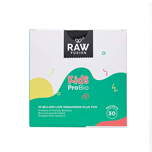 Kids PROBIO. World First Herbal Infused Probiotics, Highest Strength Kids Probio Plus Prebiotic FOS. Flavourless Sachets. 30 Day Supply. Raw Fusion