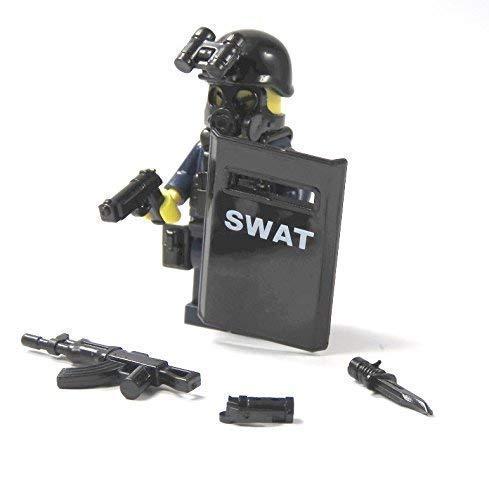 Polizei Figuren SWAT Spezialeinheit aus Lego ® Teilen mit Custom Schild Police
