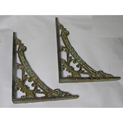 GR 2 Regalträger antik-grün aus Eisen Jugendstil Regalhalter Regal Winkel Regalstützen