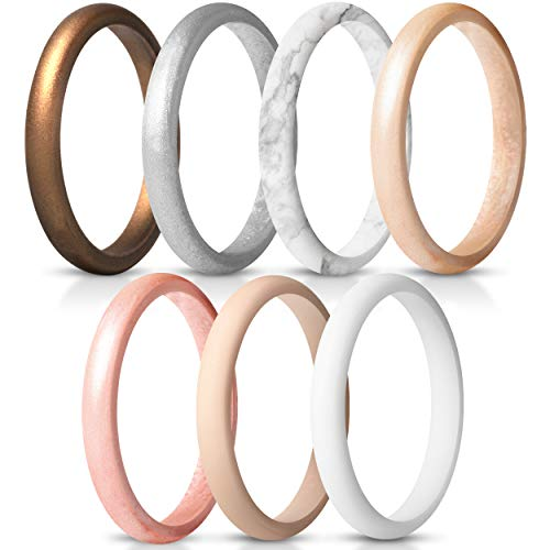 ThunderFit Women's Thin and Stackable Silicone Rings Wedding Bands - 7 Pack...