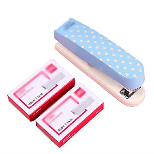 Grapadora Manual Pequeñas Grapas portátiles 20 Hoja Capacidad con 2000 Standard Standard Stands Supplys Safety Staplers (Color : Blue)