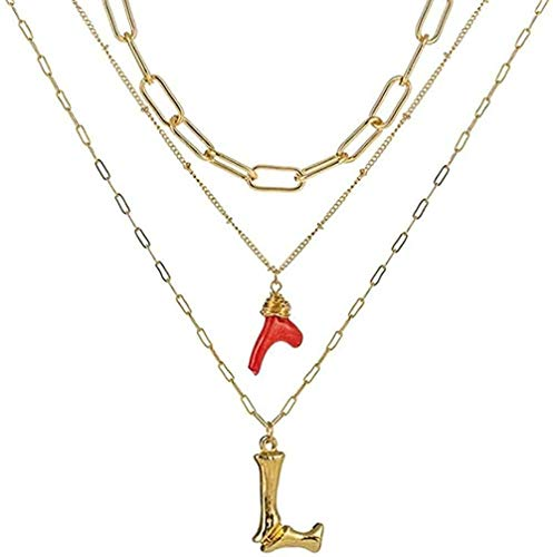 Yiffshunl Collar de Moda Collar Inicial Oro Bambú Letra Iniciales Nombre Collares Colgante de Coral Rojo Cadena de eslabones para Mujer Regalo de cumpleaños