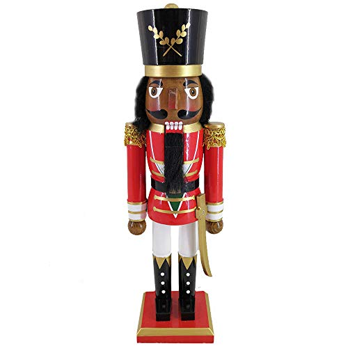 Christmas Holiday Wooden African American Nutcracker Figure Soldier with a Red Uniform Jacket with Gold Trim & Golden Sword, Black Hat, and White Pants, Large, 15 Inch