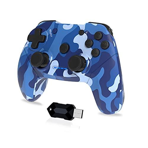 Clevo Gamepad für PC, 2.4G Wireless Game Controller für PC mit USB, Joypad mit Dual Vibration Plug and Play für PC/Windows7 / 8/10 / Android, TV-Box Joystick (Blau)