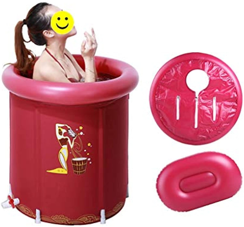 LILI Badkuip Badewanne olding tragbare Badewanne, verdickung aufblasbare kinderbadewanne Kunststoff runde groe Raum Faltbare duschbadewanne (Farbe   rot, Größe   65  70cm)