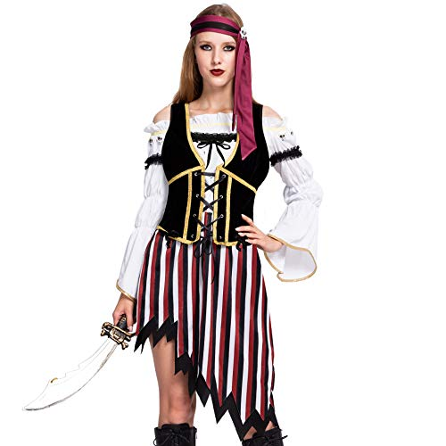 High Seas Pirate Wench Captain Costume for Women Halloween Role-playing (Small)