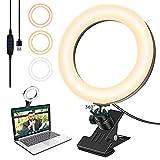 Luce per Videoconferenza, 6,3'' Luce per Selfie Ring Light LED Portatile per, Phone, Tik T...