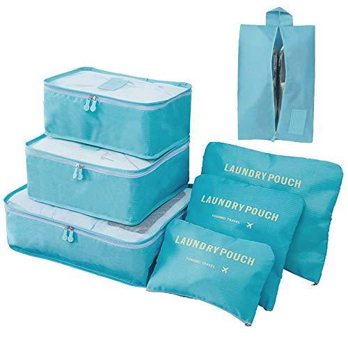 Meowoo Organizer per Valigie 7 pezzi Organizer Viaggio, Cubo Borse di Stoccaggio, Borse per Biancheria Intima Calzature Vestiti (7pcs-lago blu)