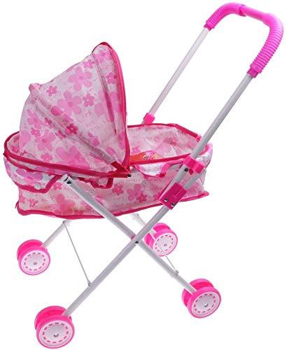 Aurora Store Passeggino per Bambole con cappottina Pieghevole 4 Ruote Metallo Carrozzina richiudibile per Bambine Idea Regalo Giocattoli Bimbe