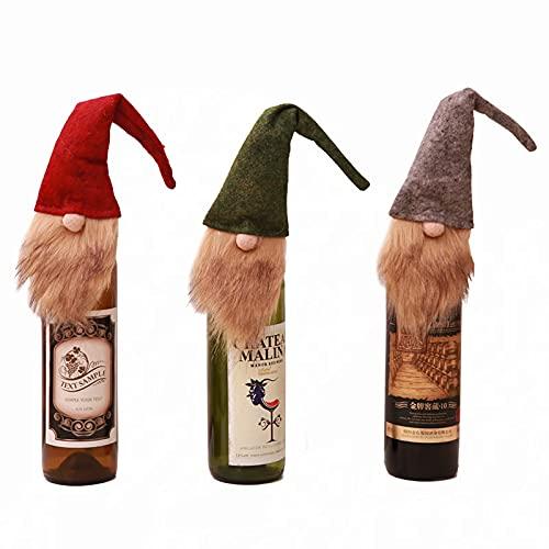 Juego de 3 fundas para botellas de vino navideñas para botellas de vino, de piel sintética, para decoración de Navidad, bolsas de regalo reutilizables