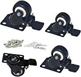 MySit Plate Casters with Brake Lock and Hardwares, 4 Pack 2 Inch Heavy Duty...