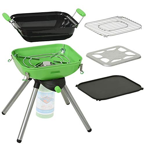 Flame King YSNVT301 MultiFunction Portable Propane BBQ Grill Camp Stove Green 8000 BTU 95 x 12 Inch Cooking Surface