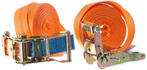 Braun Spanngurt 2000 daN, einteilig, für Profis und Privattransporte, zweiteilig, nach DIN EN 12195-2, Farbe orange, 6 m Länge, 35 mm Bandbreite, mit Ratsche, 2er Set.
