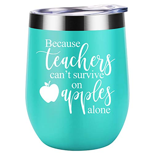 Teacher Valentines Gifts for Women - Teachers Can't Survive on Apples Alone - Funny Birthday, Valentines Day Gifts Ideas for Teachers - Teacher Appreciation Gifts - Coolife Wine Tumbler Teacher Mug