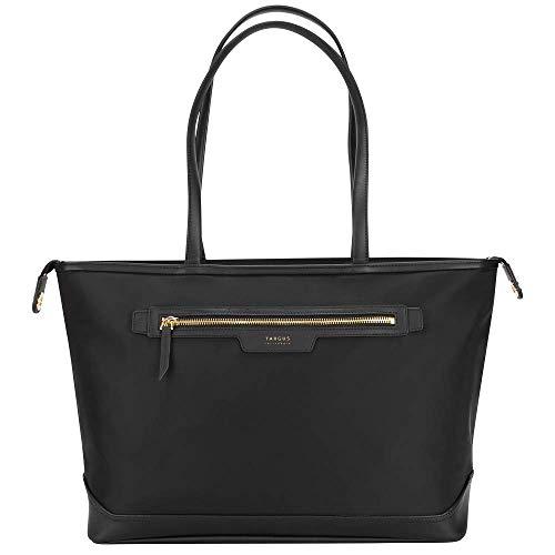 Targus Newport East-West Tote Bag with Sleek Water Resistant Nylon Work Shoulder Bag Design, Long Carry Handles, Main Top Zip, Trolley Strap, Protective 15' Laptop Cradle, Black (TST599GL)