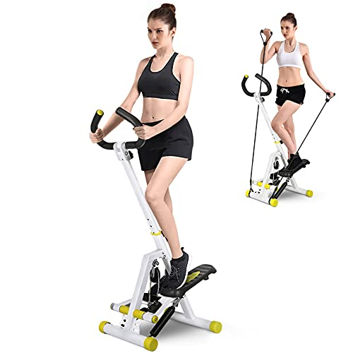 Stepper for Exercise Machine, Doufit ST-01 Foldable Stair Step Machine Exerciser for Home Use with Resistance Bands and Handle Bar, 220 Lbs Capacity (Unadjustable Resistance) (Upgraded)