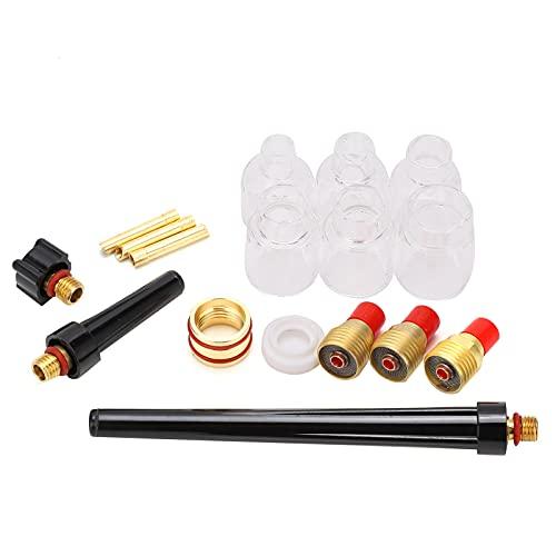 Kit de accesorios de antorcha de soldadura, kit de abrazadera de tungsteno para soldadura Copa de vidrio de soldadura Taza de boquilla de electrodo duradera Accesorios de soldadura para