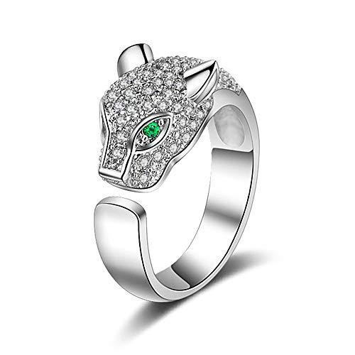 24 JOYAS Anillo Pantera con Incrustaciones de Cristalesy Ojos Verdes Ajustable - Regalo romántico y de diseño para Mujer, Enamorados, Aniversario (Plateado)
