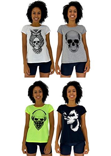 Kit 4 Camiseta Babylook Feminina MXD Conceito Cores Básicas e Vivas Para o Verão Coruja com Caveira Gorilla Skull Caveira Pontilhada (G)