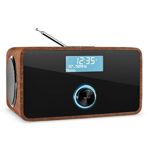 auna DABStep - Digitalradio, Radiowecker, DAB/DAB+ und UKW Tuner, RDS, LCD-Display, Datum- und Uhrzeit-Anzeige, Breitbandlautsprecher,Sleep-Timer, AUX, braun