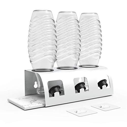 Edelstahl Flaschenhalter-Mit Diatomeenschlamm saugfähigem Brett sodastream flaschenhalter, kompatibel Abtropfständer für Sodastream Crystal und Emil Flaschen, Glasflaschen Zubehör(3er)