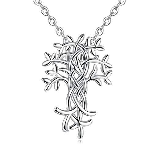 Lebensbaum Kette EUDORA Harmony Ball 925 Sterling Silber Baum des Lebens Halskette für Frauen Mädchen Schmuck Weihnachtsgeschenk 45,7 cm Kette