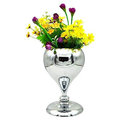 VSander Licht Vase Home Showroom Villa Blumenständer Hochzeit Eisen Kunsthandwerk Einsatz Vase Dekoration Dekoration (Color : Silver)