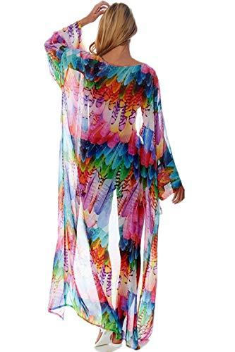 AiJump Chiffon Vestido de Playa Kaftan Kimonos Pareos Bohemia Cover Ups para Mujer