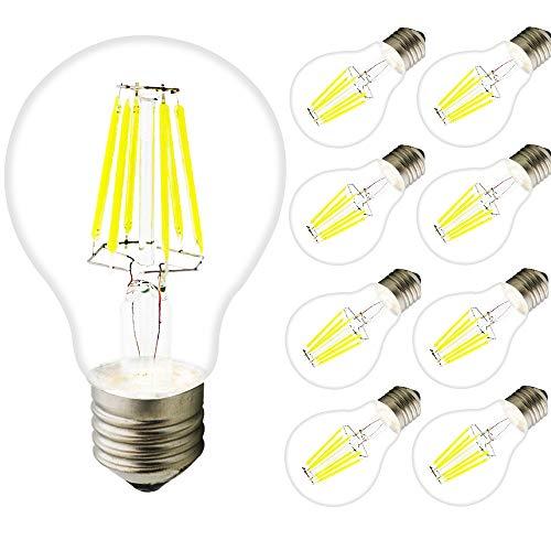 8x E27 LED Bombilla vintage,A60 6W Bombillas de Filamento No regulable,Edison LED Retro filamento bombilla,(Blanco frío 6000K)