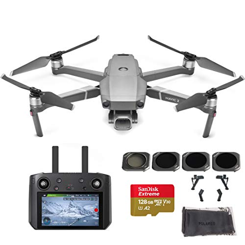 DJI Mavic 2 Pro Drone Quadcopter with Smart Controller, Must Have Bundle, 128GB SD Card and Filter Set (CPL, ND8, ND16, ND32)