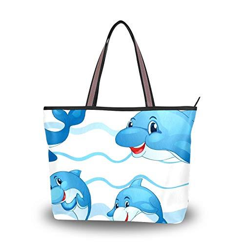 Handtasche für Damen Einkaufstasche Reisetasche Canvas Casual Tasche mit Polyester-Futter Sporttasche Polyester Tragbar Leicht Arbeit Büro Reise Schultertasche Cartoon Süß Delfin Schwimmen