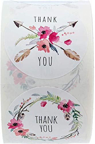 """SBLABELS 1.5"""" Boho Chic Thank You Stickers / 6 Different Thank You Designs / 500 Thanks Stickers Per Roll"""