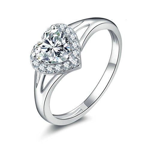 Anyeda Dünner Ring 925 Damen Ringe Herz Cz Silber Graviert Ringgröße 52 (16.6)