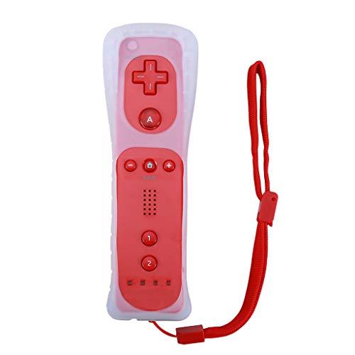 Huiingwen - Mando inalámbrico sin Motion Plus para Wii, mando a distancia con funda de silicona rojo 15x4x3.5cm