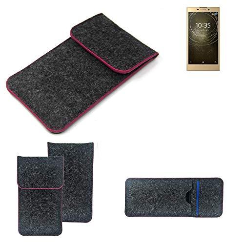 K-S-Trade Filz Schutz Hülle Für Sony Xperia L2 Dual-SIM Schutzhülle Filztasche Pouch Tasche Hülle Sleeve Handyhülle Filzhülle Dunkelgrau Rosa Rand