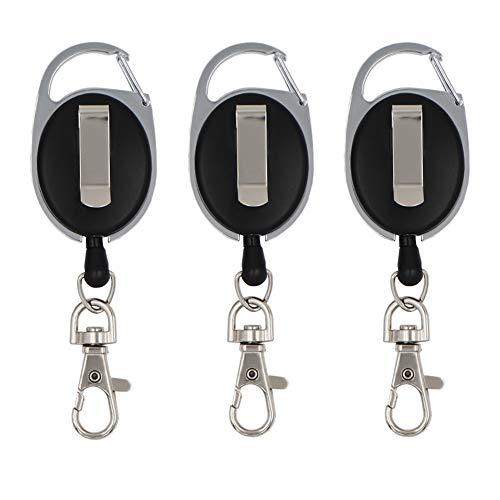 XITAER 3 Piezas Llaveros Retráctil, Portatarjeta de Identificación y Oficina, Cordón Extensible 60cm Ovalado con Clip y Llavero Metal, Negro