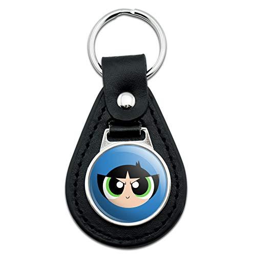 Black Leather Powerpuff Girls Buttercup Head Keychain