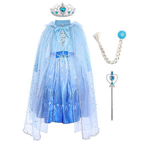 IMEKIS Ragazze Frozen Elsa Vestito Principessa Regina delle Nevi Costume Cosplay Volant Manica Lunga Lavorato Abito A Maglia Pizzo Paillettes Compleanno Tutu di Tulle per Carnevale di Natale