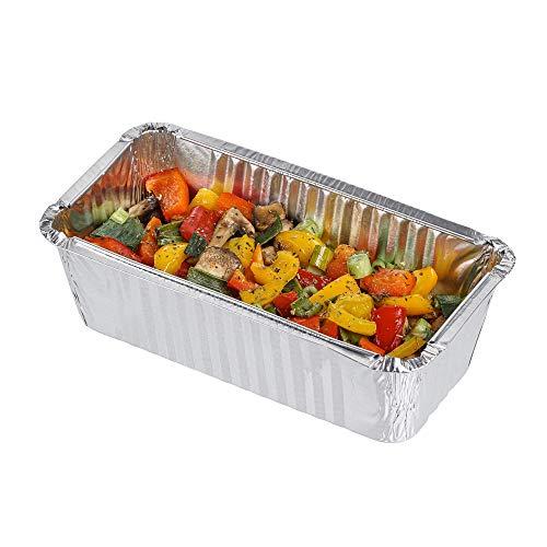 Pack de 10 moldes rectangulares desechables de aluminio ~ Bueno para hornear, cocinar, almacenar y congelar ~ Tamaño pequeño de pan 19,5 cm x 10,5 cm.
