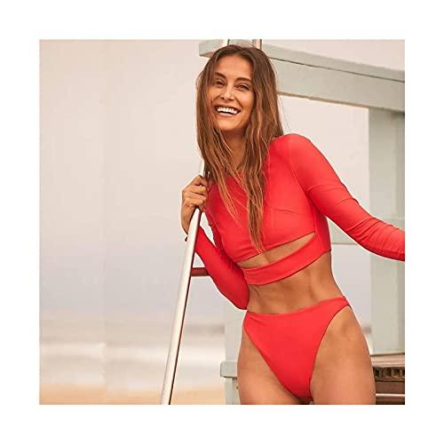Zwei stück Surf Anzug, Surfen Badeanzug für Frauen Bikini Langarm Swimwear Solid Print Push up Sommer Badanzug Bandeau Biquini (Color : Red, Size : L)