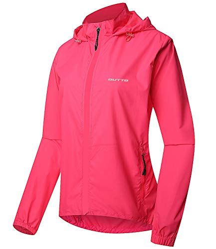 Outto Women's Cycling Jacket Convertible UPF50+ Windproof with Zip Off Sleeves(Small,Pink)