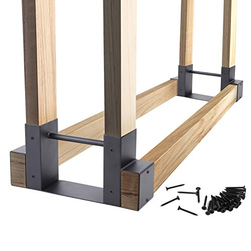 2Pack Firewood Log Rack Bracket Kit, DIY Adjustable-Any-Length, Heavy Duty Steel Outdoor Wood Storage Fireplace Lumber Pile Holder Stacker, Fire Pit Accessory, for Patio Storage Organization