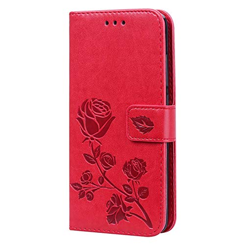XINNI Funda Protectora para Teléfono Xiaomi Poco X3 Pro/Xiaomi Poco X3 NFC, PU/TPU Cartera de Cuero Tapa a Prueba de Golpes Cubierta Magnética Estilo Libro Exquisito Case Cover,Rojo