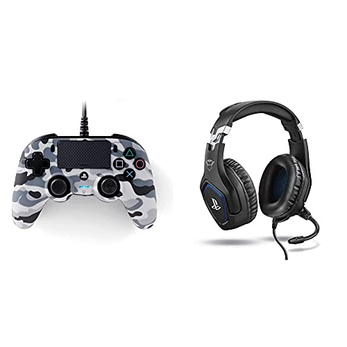Nacon Compact Controller Ps4 Ufficiale Sony Playstation Grigio Camouflage & Trust Gaming Gxt 488 Forze Cuffie Ps4 E Ps5 Con Licenza Ufficiale Playstation, Microfono Ripiegabile E Archetto Regolabile