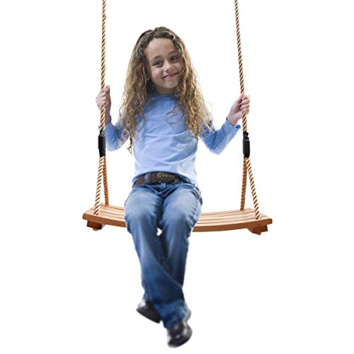 TALEEKEU Columpio de madera, columpio impermeable en forma de arco, jardín, patio, interior y exterior, juego de columpio de madera para niños adultos y niños (dorado)