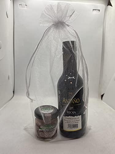 Detalles para bodas, comuniones, bautizos y eventos en general con mini botella de vino Rioja Antaño 18,7 cl y paté ibérico de 30 gr en bolsa de organza.