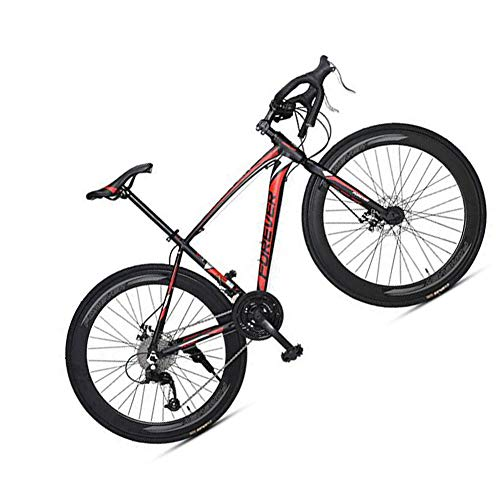 MIRC Road Bike Mountain Bike Racing Men's Aluminum Alloy Adult Ultra Light 700c Broken Wind Speed,Red,L