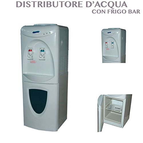 DISPENSER ACQUA FREDDA E CALDA DISTRIBUTORE ACQUA COLONNA DA TERRA CON MINI FRIGO PER BEVANDE
